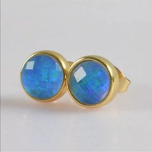 9mm round Japanese Blue Opal Earrings